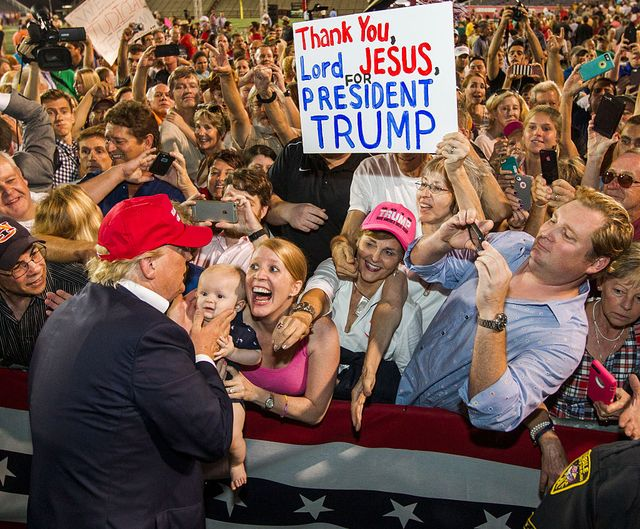 mobile, al  august 21 republican presidential candidate donald trump greets supporters after his rally at ladd peebles stadium on august 21, 2015 in mobile, alabama the trump campaign moved tonights rally to a larger stadium to accommodate demand photo by mark wallheisergetty images