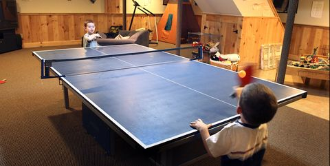 Ping pong, Racquet sport, Table tennis racket, Racket, Recreation room, Play, Floor, Individual sports, Ball game, Table,