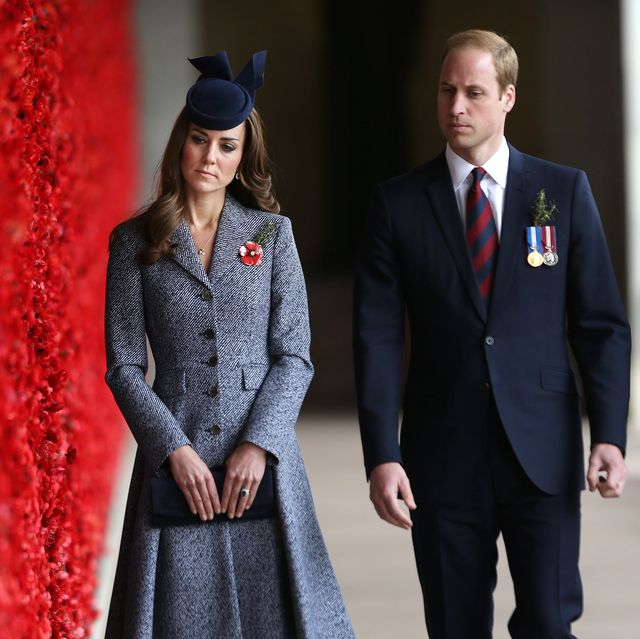 canberra, australia   april 25  catherine, duchess of cambridge and prince william, duke of cambridge walk along the world war i wall of remembrance during their visit to the australian war memorial on anzac day on april 25 2014 in canberra, australia the duke and duchess of cambridge are on a three week tour of australia and new zealand, the first official trip overseas with their son, prince george of cambridge  photo by gary ramage   poolgetty images