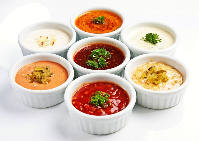 array of sauces