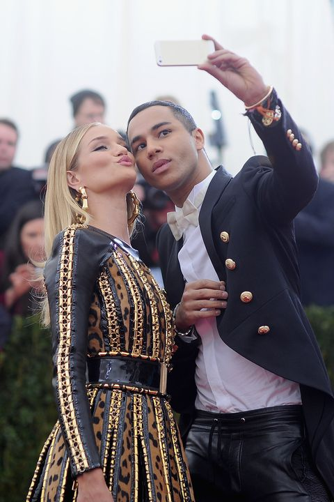 new york, ny   may 05  rosie huntington whiteley and olivier rousteing attend the charles james beyond fashion costume institute gala at the metropolitan museum of art on may 5, 2014 in new york city  photo by dimitrios kambourisgetty images