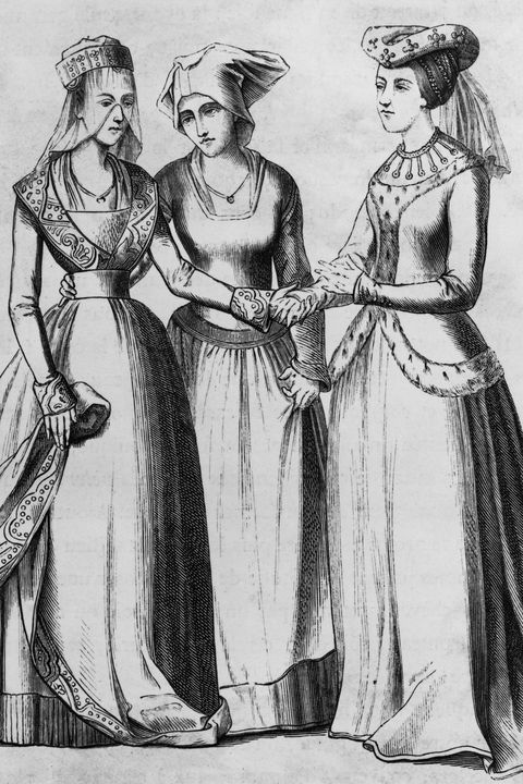 three french women in 14th century costumes characteristic of left to right a wealthy middle class woman, a commoner and a noblewoman, circa 1350 a composite image based on stained glass windows in the churches of moulins in central france photo by hulton archivegetty images