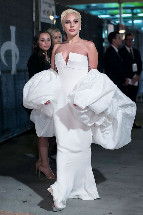 White, Dress, Clothing, Gown, Wedding dress, Shoulder, Fashion, Bridal clothing, Beauty, Haute couture,