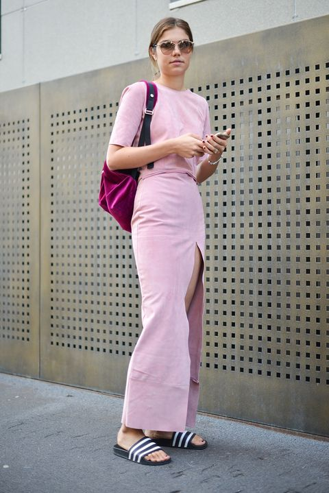 Clothing, White, Shoulder, Pink, Fashion, Street fashion, Dress, Footwear, Waist, Fashion design,