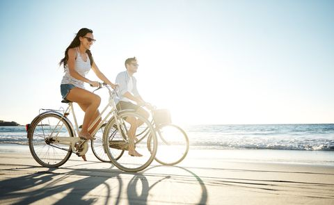 People on beach, People in nature, Bicycle, Vehicle, Mode of transport, Leisure, Vacation, Fun, Summer, Photography,