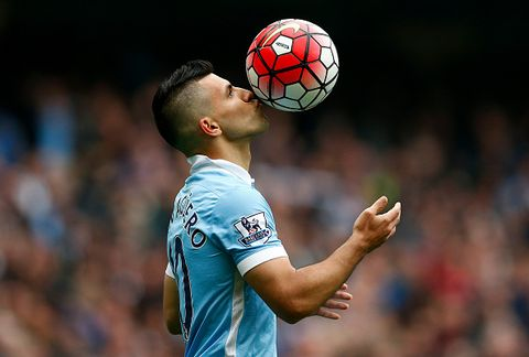 manchester, england   october 03  sergio aguero of manchester city kisses the ball to celebrate a goal during the barclays premier league match between manchester city and newcastle united at etihad stadium on october 3, 2015 in manchester, united kingdom  photo by dean mouhtaropoulosgetty images