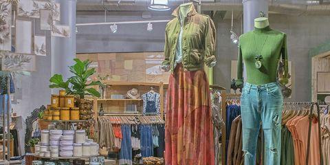 Ceiling, Boutique, Building, Fashion, Interior design, Architecture, Room, Display window, Textile, Window,