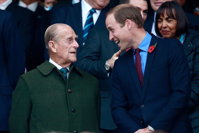 london, england   october 31  editors note retransmission of 495101722 with alternate crop  prince phillip and prince william enjoy the build up to the 2015 rugby world cup final match between new zealand and australia at twickenham stadium on october 31, 2015 in london, united kingdom  photo by phil waltergetty images