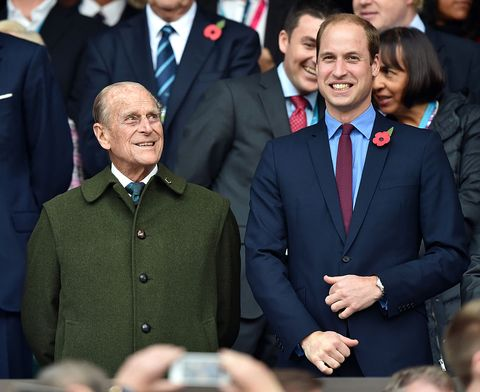 london, united kingdom   october 31 embargoed for publication in uk newspapers until 48 hours after create date and time prince philip, duke of edinburgh and prince william, duke of cambridge attend the 2015 rugby world cup final match between new zealand and australia at twickenham stadium on october 31, 2015 in london, england photo by max mumbypoolindigogetty images