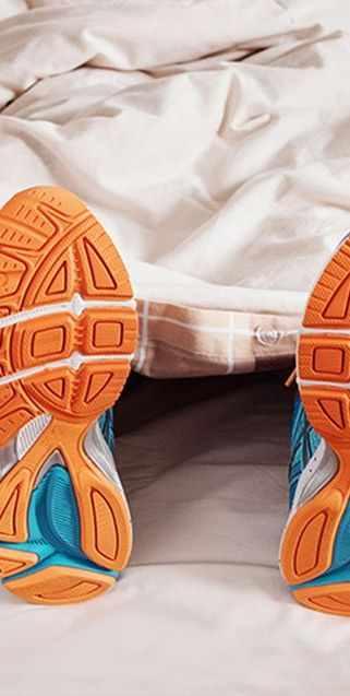 shoes in bed