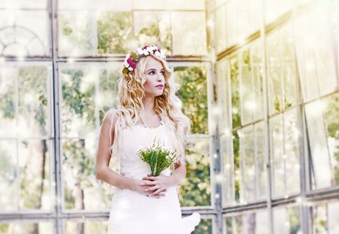 Photograph, White, Dress, Bride, Clothing, Wedding dress, Green, Beauty, Headpiece, Pink,