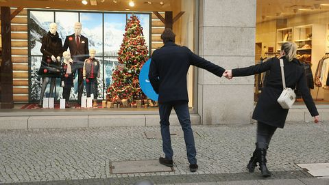berlin, germany   december 06  a couple are tempted by a shop display window on a shopping sunday on december 6, 2015 in berlin, germany stores are usually closed on sundays in germany, though authorities allow for some retail sundays verkaufsoffene sonntage, especially in the weeks before christmas photo by sean gallupgetty images