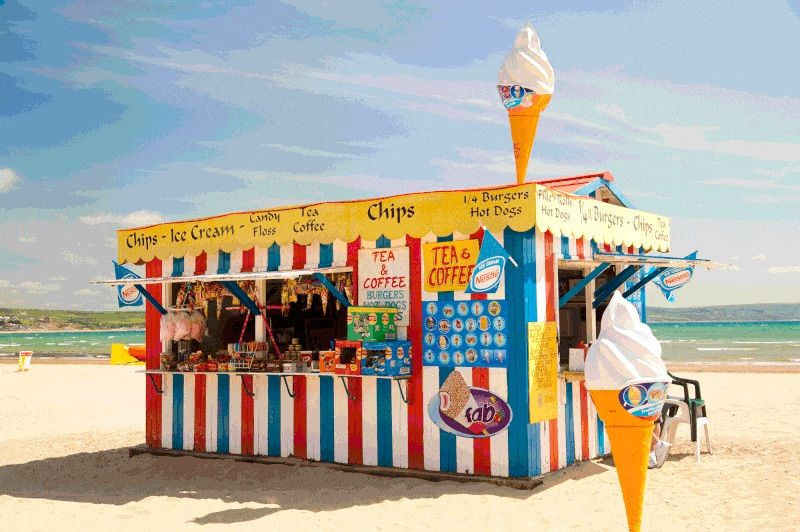 Puesto de helados en la playa
