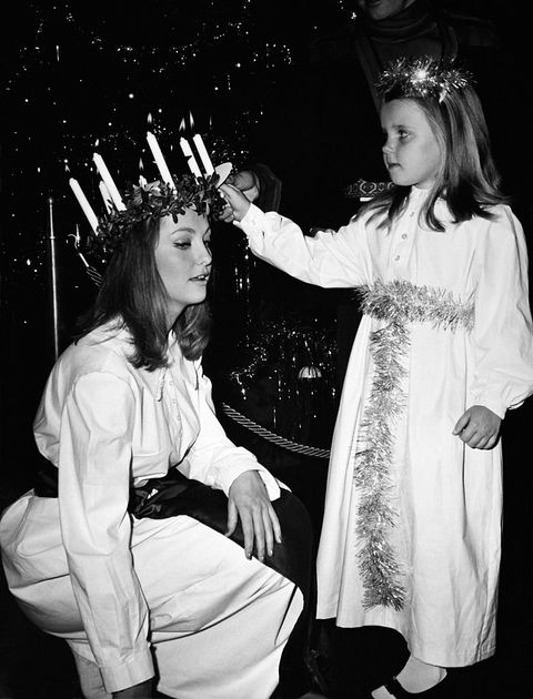 Traditional Swedish Santa Lucia Was Held Today At The Hilton Hotel By Swedish Actress Mia Gemberg