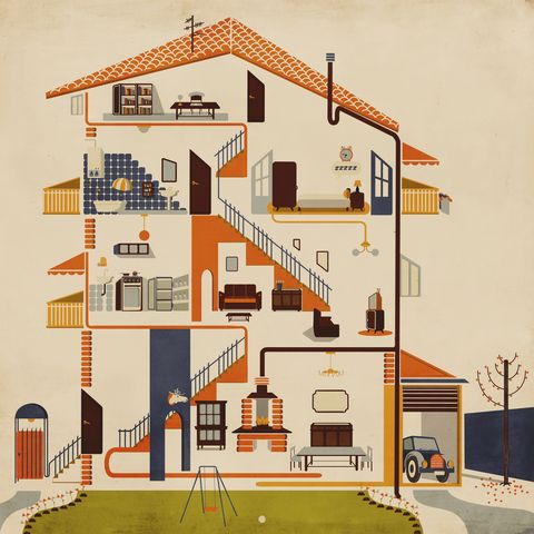 Cut away view of retro house