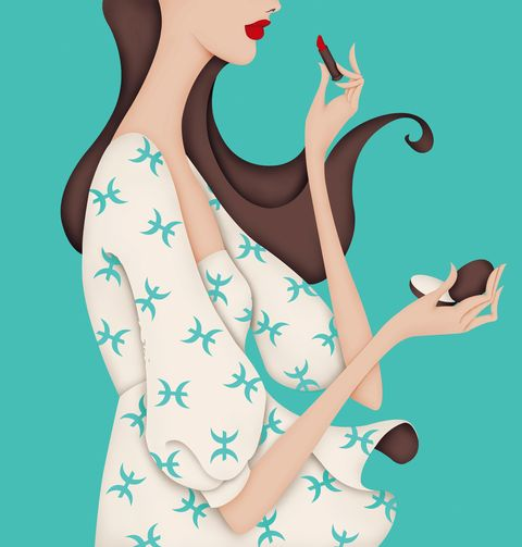 Turquoise, Illustration, Fashion illustration, Hand, Art, Finger, Long hair, Gesture,