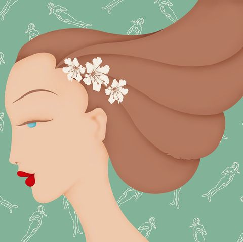 Hair, Head, Skin, Ear, Illustration, Nose, Eyelash, Plant, Art, Long hair,