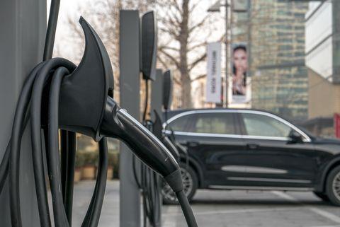 A charging station of Tesla in Beijing CBD.