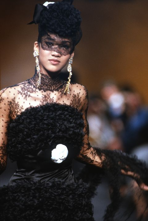 paris, france   july a model walks the runway during the chanel haute couture show as part of paris fashion week fallwinter 1989 1990 in july, 1989 in paris, france photo by victor virgilegamma rapho via getty images
