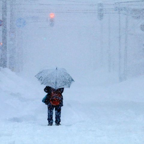 Snowstorm and women
