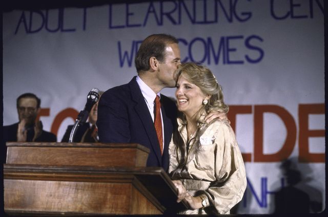 sen joseph r biden jr kissing wife jills forehead after announcing his bid for 1988 democratic presidential nomination  photo by steve lissthe life images collection via getty imagesgetty images