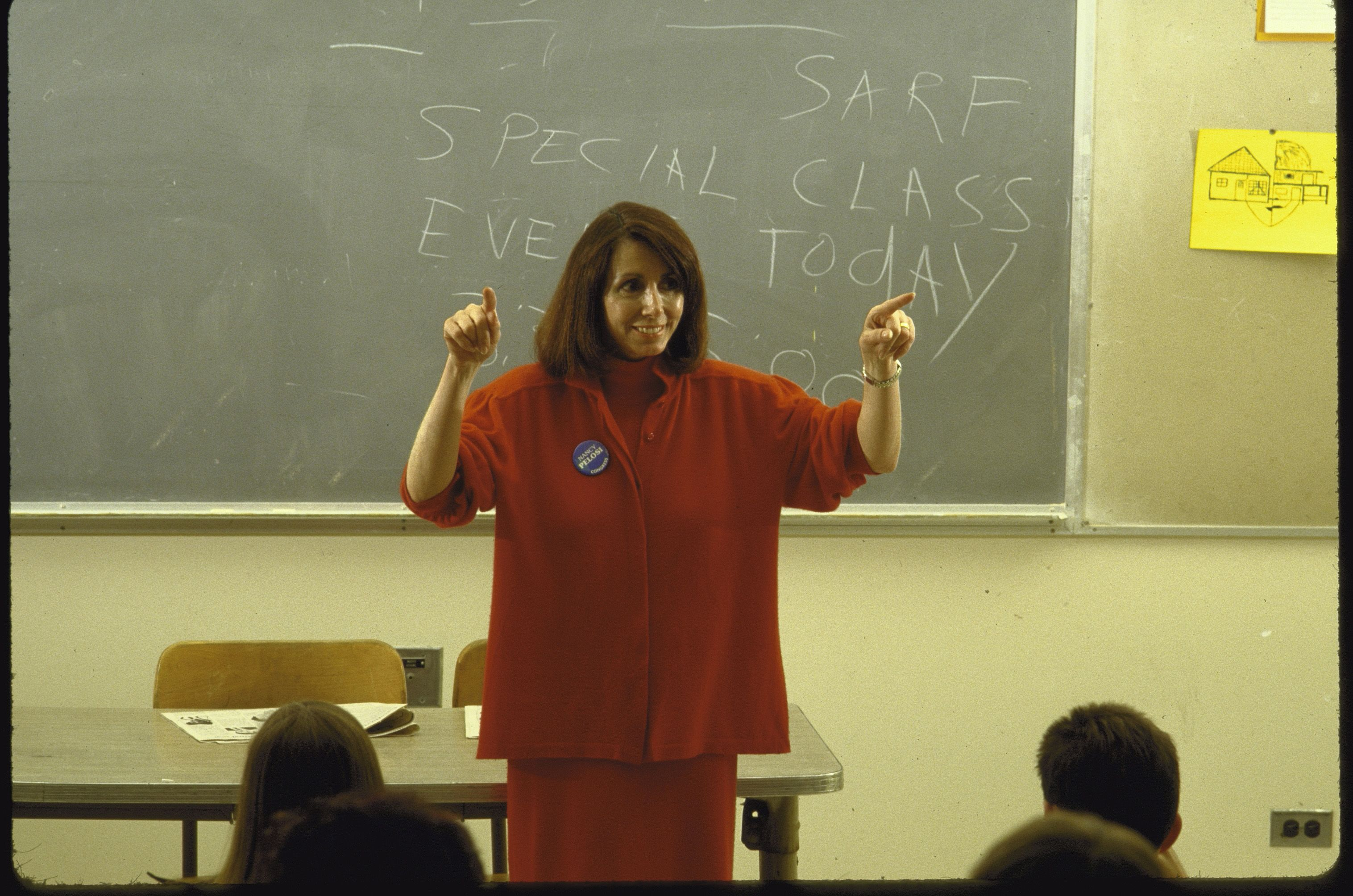 In 1987, Pelosi won a special election to replace Sala Burton in the House of Representatives, representing California's 5th congressional district. She's seen here speaking to students at San Francisco State University.