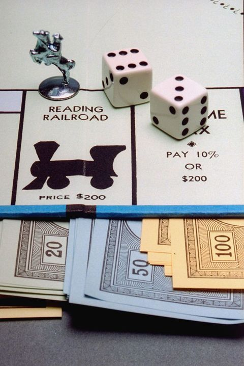 Dice, some play money & portion of board