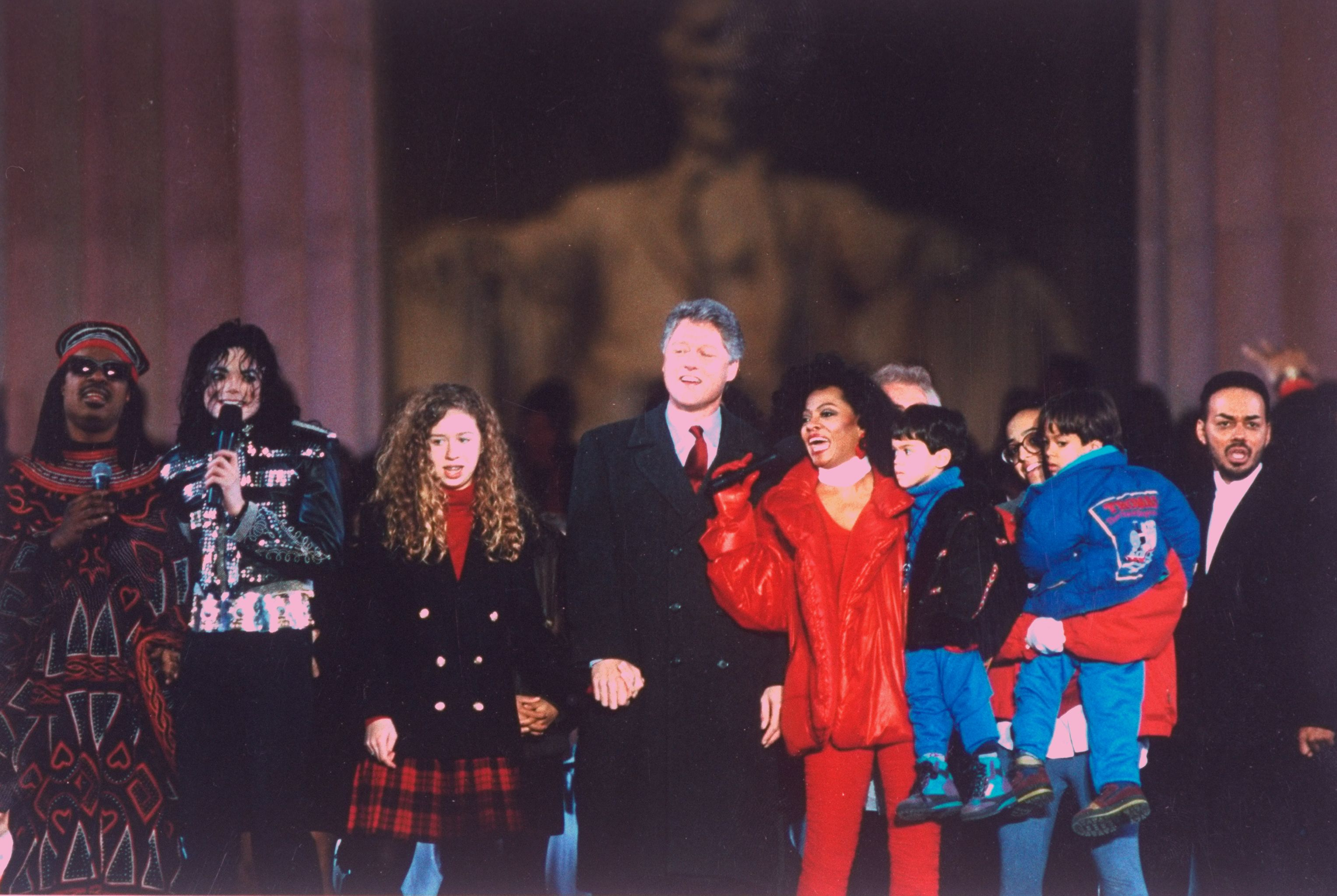 Stevie Wonder, Michael Jackson, and Diana Ross With Bill Clinton Many celebrities were thrilled when Bill Clinton was elected the 42nd president of the United States. Just before his inauguration, to celebrate cultural diversity, the likes of MJ, Diana Ross, and Stevie Wonder performed in a two-day festival called America's Reunion on the Mall .
