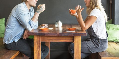 Conversation, Arm, Table, Furniture, Sitting, Junk food, Gesture, Hand, Room, Eating,