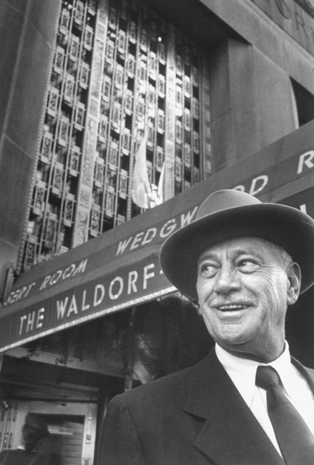 hotel magnate conrad n hilton in front of the waldorf astoria hotel  photo by martha holmesthe life picture collection via getty images