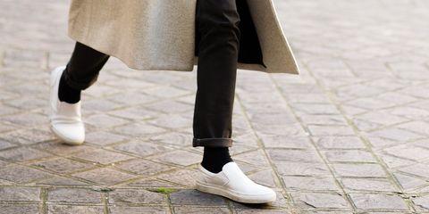 White, Footwear, Street fashion, Leg, Shoe, Ankle, Human leg, Fashion, Outerwear, Joint,