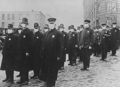 Seattle policemen wearing protective gau