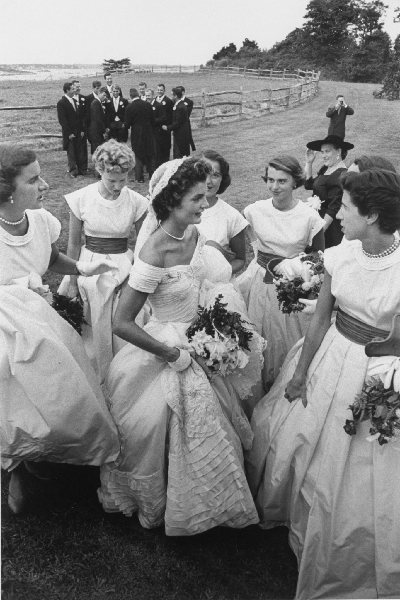 Jackie Kennedy with her bridesmaids on her wedding day