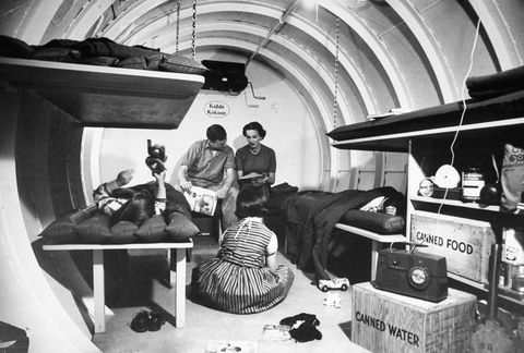 interior view of 4,500 lb steel underground radiation fallout shelter