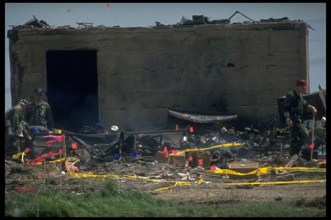 tx rangers, fbi  atf agents gathering evidence fr ruins of branch davidian compound burnt during siege of david koresh led cult w red flags where bodies were found  photo by shelly katzthe life images collection via getty imagesgetty images