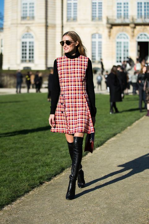 Plaid, Tartan, Clothing, Street fashion, Fashion, Pattern, Boot, Knee-high boot, Footwear, Shoulder,