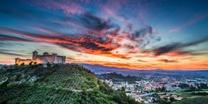 Beautiful sunset over the castle in Spoleto, Italy, Umbria