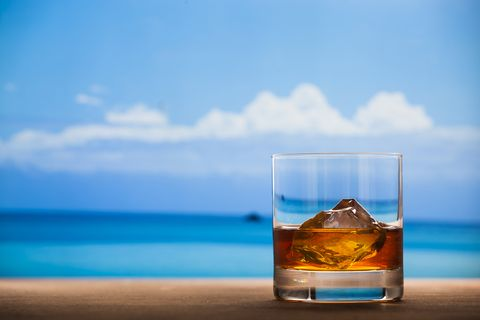 Whisky in sea background