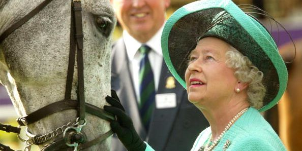 queen elizabeth with horse