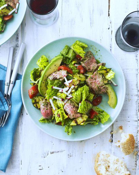 steak salad with avocado and radish