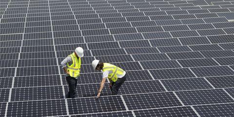 Solar panel, Line, Solar power, Asphalt, Solar energy, Technology, Public utility, Roof, Net, Composite material,