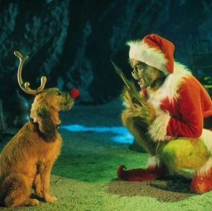 381271 02 the grinch, played by jim carrey, conspires with his dog max to deprive the whos of their favorite holiday in the live action adaptation of the famous christmas tale, dr seuss how the grinch stole christmas, directed by ron howard  photo by getty images