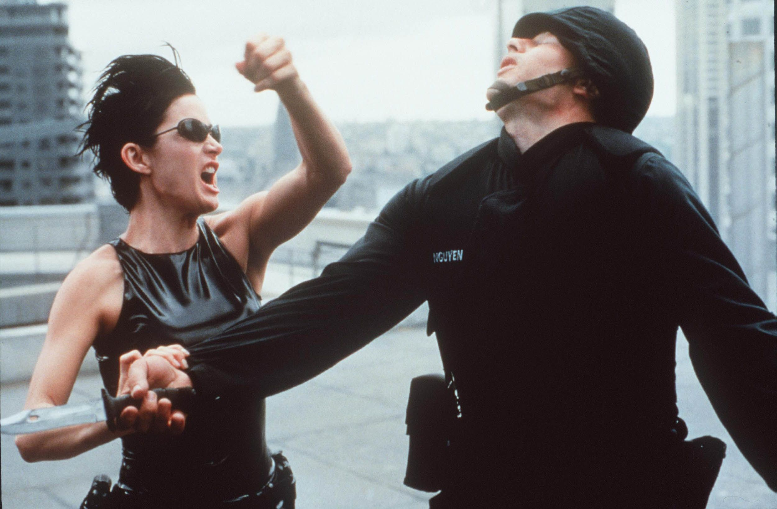 Carrie-Anne Moss in the 1999 film The Matrix.