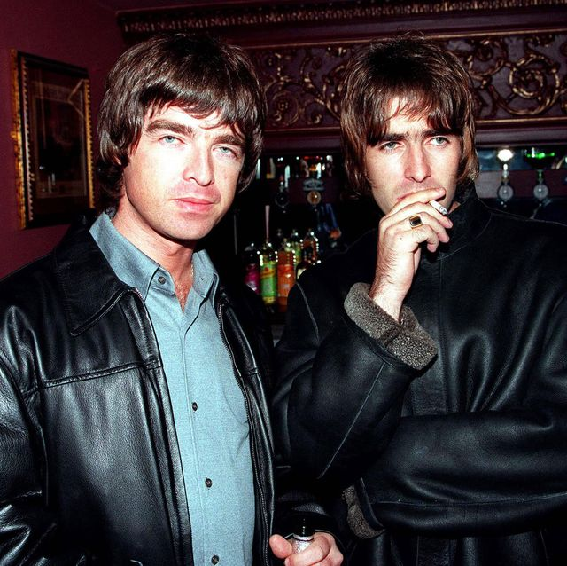 london   1995 oasis lead singer liam gallagher and brother noal gallagher at the opening night of steve coogan's comedy show in the west end, london photo by dave hogangetty images