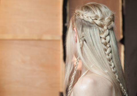 Hair, Hairstyle, Blond, Long hair, Beauty, Skin, Shoulder, Braid, Back, French braid,