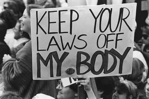 pro choice campaigners at a march for womens equality in washington, dc, 9th april 1989 one placard reads keep your laws off my body  photo by barbara alpergetty images
