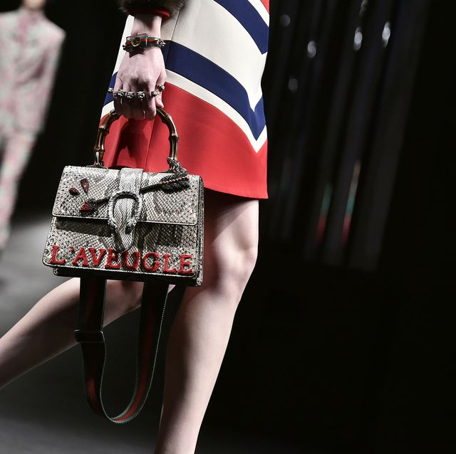 milan, italy   february 24  accessories bag detail on the runway at the gucci autumn winter 2016 fashion show during milan fashion week on february 24, 2016 in milan, italy  photo by catwalkinggetty images