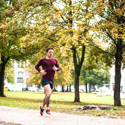 Green, Branch, Recreation, Tree, Leaf, Deciduous, T-shirt, Running, Shorts, People in nature,