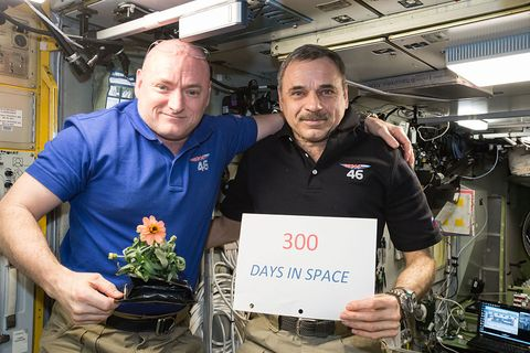 in space   january 21  in this handout photo provided by nasa, one year mission crew members scott kelly of nasa left and mikhail kornienko of roscosmos right celebrated their 300th consecutive day in space on january 21, 2016 in space the pair will spend a total of 340 days aboard the international space station as scientists seek to understand what happens to the human body while in microgravity for extreme lengths of time photo by nasa via getty images