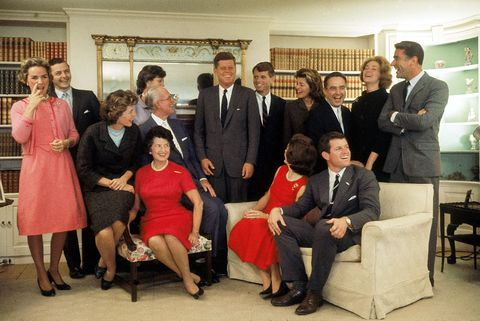 portrait of members of the kennedy family at their home on the night after john f kennedy won the 1960 us presidential election, hyannis port, massachusetts, november 9, 1960 sitting, from left, eunice shriver on chair arm, rose kennedy 1890   1995, joseph kennedy 1888   1969 on chair arm, jacqueline kennedy 1929   1994 head turned away from camera, and ted kennedy back row, from left, ethel kennedy, stephen smith 1927   1990, jean smith, american president john f kennedy 1917   1963, robert f kennedy 1925   1968, pat lawford 1924   2006, sargent shriver, joan kennedy, and peter lawford 1923   1984 photo by paul schutzerthe life picture collection via getty images